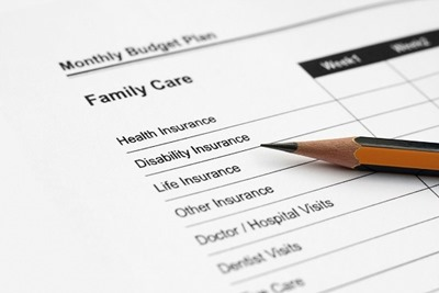 Family budget plan including different types of insurance