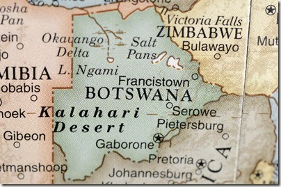 A close-up/macro photograph of Botswana from a desktop globe. Adobe RGB color profile.