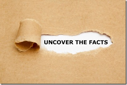 brown paper ripped showing the text uncover the facts