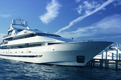 A luxury yacht docked in the marina.
