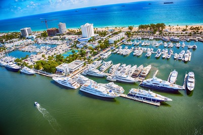 Yachts docked in Fort Lauderdale, FL in the U.S.